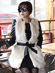Elegant Faux Fur Splice Long Waistcoat
