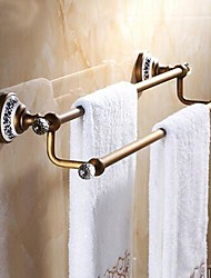 "Towel Bar Antique Brass Wall Mounted 625 x 90x125mm (24.6 x 3.54 x 4.92"") Brass / Ceramic / Crystal Antique"