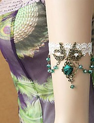 Handmade Back-to-ancients Green Crystal White Lace Classic & Traditional Lolita Armlet