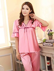 Women Lace/Polyester/Satin/Silk Pajama Medium
