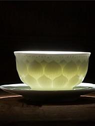 """coisa verde marca azul de porcelana branca em baixo-relevo copo de lótus, cerâmica 3.7 * 3.7 * 1.9 """""""