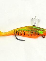 """2pcs + ® Lifelike deux crochets silicone orange, pêche au leurre souple basse swimbait appât mérou poisson-chat tueur appât 4.9 """"/0.92oz"""