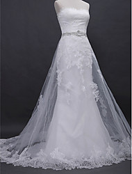 A-line Wedding Dress Lacy Look Court Train Strapless Lace Tulle with Appliques Beading