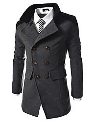 Men's Long Sleeve Regular Coat , Others Pure