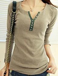 camisa de manga longa assentamento t-shirt das mulheres da tripulação pescoço