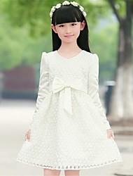 nueva manga larga blanca temperamento bowknot vestido elegante princesa del otoño de la muchacha para niño grande