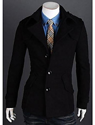 PIKE Men's Single Breast Casual Woolen Coat
