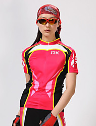 MYSENLAN Women's Breathable Polyester Red Short Sleeve Cycling Suit