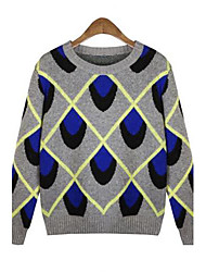 Women's Diamond Lattice Bump Color Loose Sweaters