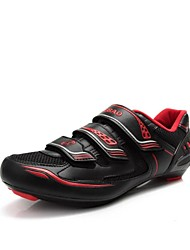 TIEBAO Unisex Black+Red Breathable Road Bike Cycling Shoes