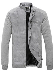 Men's Long Sleeve Jacket , Cotton Blend Casual