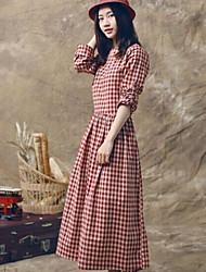 De las mujeres Línea A Vestido Vintage / Casual A Cuadros Maxi Escote Redondo Lino