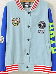 Women's The Tiger Skull Labeling Letters Baseball Uniform Coat