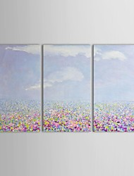 IARTS®Hand Painted Oil Painting Landscape Romantic Flowers Sea with Stretched Frame Set of 3