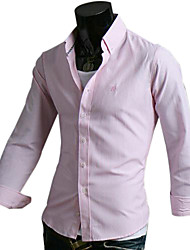 Men's Lapel Checked with Color Long Sleeve Shirt