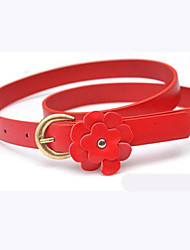 Women's Fresh Little Flower Metal Thin Leather Belt