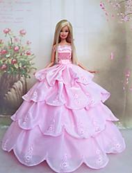 Barbie Doll Romantic Pink Princess Wedding Dress