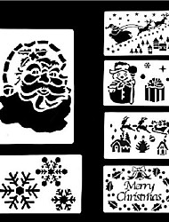 6 Style Christmas Window Spray Paint Templates (Small Size)
