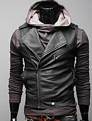 couro moda casual casaco fino colete homens