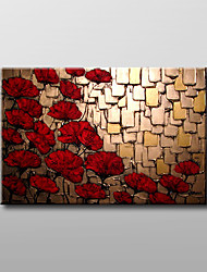 Hand-Painted Floral/BotanicalModern Traditional One Panel Canvas Oil Painting For Home Decoration