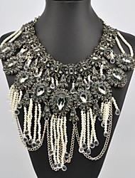 Women's Multi Layer Crystal Gem Tassel Necklace