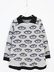 Women's 2014 New Fashion Turn-Down Collar Long Sleeve Eyes Printed Loose Pullovers
