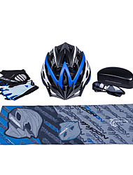 MOON New Black+Blue Cycling Gift Box Set Including 21 Vents Helmet Carbon Fiber Glasses Short Finger Gloves and Scarf