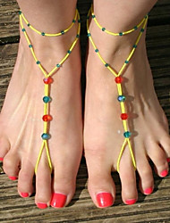 Women's Crystal Beads Double Mittens Anklets