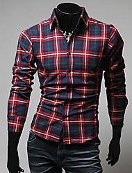 Men's Plaids Work / Formal Shirt,Cotton Blend Long Sleeve Multi-color