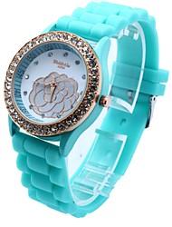 reloj de silicona esfera redonda cuarzo banda de la mujer (colores surtidos)