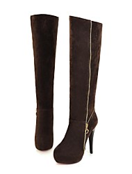 Women's Shoes Platform Round Toe Stiletto Heel Knee High Boots with Zipper More Colors available