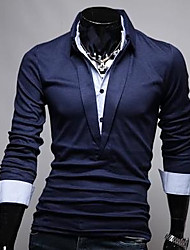 Men's Korean Style Slim Pure Colore Long Sleeves Polo Shirt