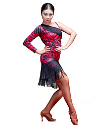 Performance Viscose Latin Dance robe une épaule avec des glands pour les dames