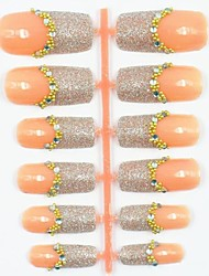 12PCS Natural Color Base Glitter Starry French Style False Acrylic Nail Art Tips Molds with 1PC Nail Art Glue