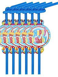 Coway 12 pcs/Package Birthday Cake Birthday Party Disposable Environmental Protection Straw Pattern