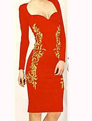 GGN Women's Elegant Floral Print Bodycon Long Sleeve Knee Length  Dress
