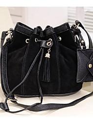 Women's PU Leather Drawstring Crossbody Messenger Shoulder Bucket Bag