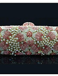 Women's Flower Design Rhinestone Hand Clutch Bag