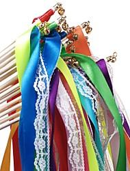 10 pcs varinhas fita de casamento com rendas e sinos flâmulas do partido