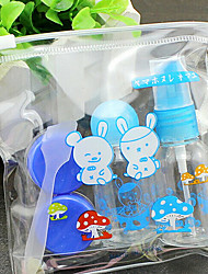 5Pcs Blue Cover Plastic Travel Bottle Set