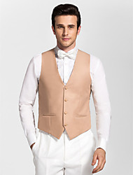 Gold Polyester Tailored Fit Vest