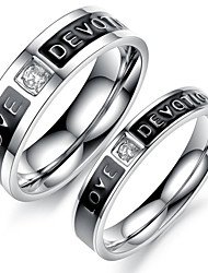 Classic Lovers Stainless Steel Black of Love Couple Rings (2 Pcs)