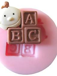 abc bebé molde para hornear la torta de la pasta de azúcar de caramelo de chocolate, l3.7cm * w3.7cm * h1cm