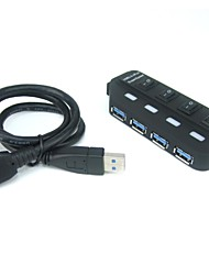 4-Port Bus-Powered Super Speed USB 3.0 Hub Each Port Control by ON/OFF Switch with LED Indicator