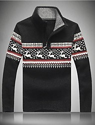 Men's Thickening Printing Collar Sweater