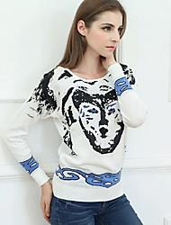 la manera clásica de jacquard suéter de lana del todo-fósforo de las mujeres