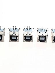 usb type b 4-pin female 90 graden dip socket connectoren - zilver + wit (5st)