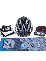 MOON New Black+Gray Cycling Gift Box Set Including 21 Vents Helmet Carbon Fiber Glasses Short Finger Gloves and Scarf