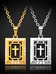 U7 émail crucifix pendentif croix collier en or 18K chunky