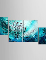 Hand Painted Oil Painting Floral Bule Flower Canvas Art with Stretched Frame Set of 4
